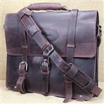 GLANOR RUSTIC VINTAGE LEATHER BRIEFCASE BACKPACK LAPTOP BAG - COFFEE BROWN