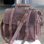 CHESTNUT GLANOR RUSTIC VINTAGE LEATHER BRIEFCASE BACKPACK LAPTOP BAG