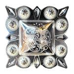 HILASON GERMAN SILVER 3 INCH BERRY SQUARE CONCHOS COWGIRL HEADSTALLS TACK