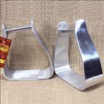 HILASON SLOPED ALUMINUM ROPER SADDLE ANGLED STIRRUPS 3 INCH NECK