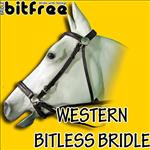 WESTERN LEATHER BROWN BITLESS BITFREE BRIDLE WITH REINS EXTREMELY COMFORTABLE