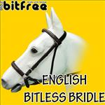 HILSAON BITFREE LEATHER ENGLISH BITLESS BRIDLE HORSE BROWN W/ REINS